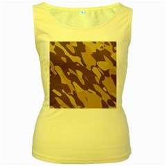 Background For Scrapbooking Or Other Beige And Brown Camouflage Patterns Women s Yellow Tank Top