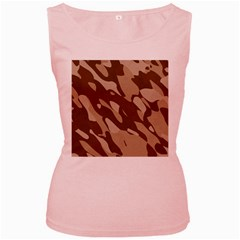 Background For Scrapbooking Or Other Beige And Brown Camouflage Patterns Women s Pink Tank Top