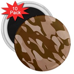 Background For Scrapbooking Or Other Beige And Brown Camouflage Patterns 3  Magnets (10 pack)