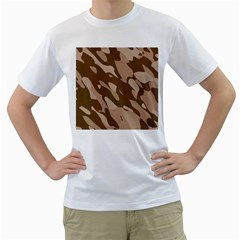Background For Scrapbooking Or Other Beige And Brown Camouflage Patterns Men s T-Shirt (White) (Two Sided)