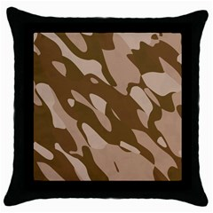 Background For Scrapbooking Or Other Beige And Brown Camouflage Patterns Throw Pillow Case (Black)