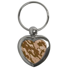 Background For Scrapbooking Or Other Beige And Brown Camouflage Patterns Key Chains (Heart)