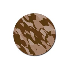 Background For Scrapbooking Or Other Beige And Brown Camouflage Patterns Rubber Round Coaster (4 pack)