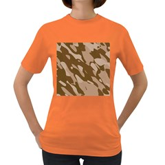 Background For Scrapbooking Or Other Beige And Brown Camouflage Patterns Women s Dark T-Shirt