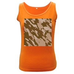 Background For Scrapbooking Or Other Beige And Brown Camouflage Patterns Women s Dark Tank Top