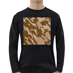 Background For Scrapbooking Or Other Beige And Brown Camouflage Patterns Long Sleeve Dark T-Shirts