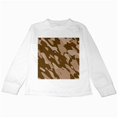 Background For Scrapbooking Or Other Beige And Brown Camouflage Patterns Kids Long Sleeve T-Shirts