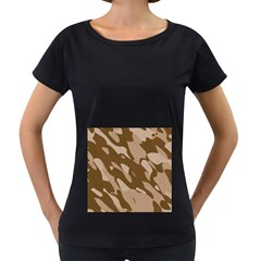 Background For Scrapbooking Or Other Beige And Brown Camouflage Patterns Women s Loose-Fit T-Shirt (Black)