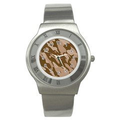 Background For Scrapbooking Or Other Beige And Brown Camouflage Patterns Stainless Steel Watch