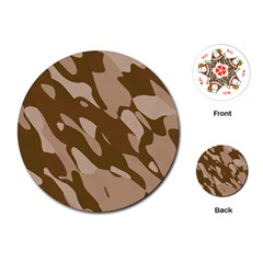 Background For Scrapbooking Or Other Beige And Brown Camouflage Patterns Playing Cards (Round)