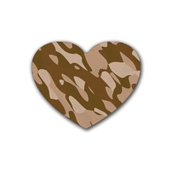 Background For Scrapbooking Or Other Beige And Brown Camouflage Patterns Heart Coaster (4 pack)