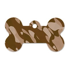 Background For Scrapbooking Or Other Beige And Brown Camouflage Patterns Dog Tag Bone (One Side)