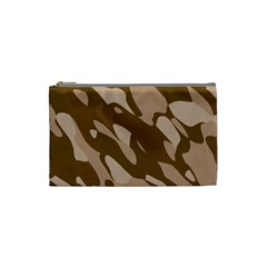 Background For Scrapbooking Or Other Beige And Brown Camouflage Patterns Cosmetic Bag (Small)