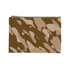 Background For Scrapbooking Or Other Beige And Brown Camouflage Patterns Cosmetic Bag (Large)