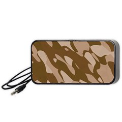 Background For Scrapbooking Or Other Beige And Brown Camouflage Patterns Portable Speaker (Black)