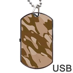 Background For Scrapbooking Or Other Beige And Brown Camouflage Patterns Dog Tag USB Flash (One Side)