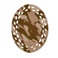 Background For Scrapbooking Or Other Beige And Brown Camouflage Patterns Ornament (Oval Filigree)