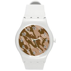 Background For Scrapbooking Or Other Beige And Brown Camouflage Patterns Round Plastic Sport Watch (m)