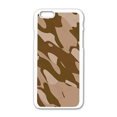 Background For Scrapbooking Or Other Beige And Brown Camouflage Patterns Apple Iphone 6/6s White Enamel Case