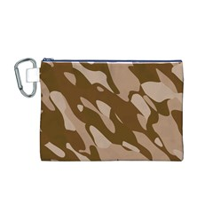 Background For Scrapbooking Or Other Beige And Brown Camouflage Patterns Canvas Cosmetic Bag (M)