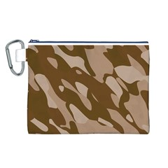 Background For Scrapbooking Or Other Beige And Brown Camouflage Patterns Canvas Cosmetic Bag (L)