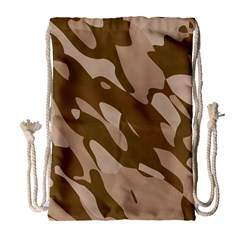 Background For Scrapbooking Or Other Beige And Brown Camouflage Patterns Drawstring Bag (Large)