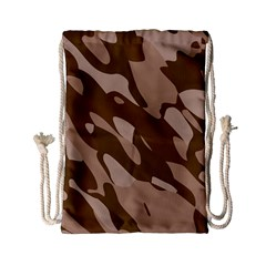 Background For Scrapbooking Or Other Beige And Brown Camouflage Patterns Drawstring Bag (Small)
