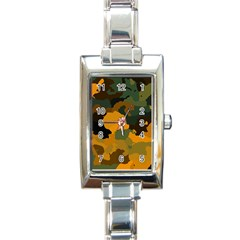 Background For Scrapbooking Or Other Camouflage Patterns Orange And Green Rectangle Italian Charm Watch