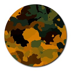 Background For Scrapbooking Or Other Camouflage Patterns Orange And Green Round Mousepads