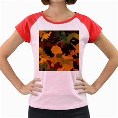 Background For Scrapbooking Or Other Camouflage Patterns Orange And Green Women s Cap Sleeve T-Shirt