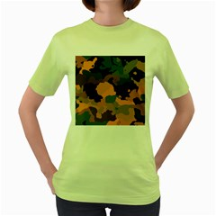 Background For Scrapbooking Or Other Camouflage Patterns Orange And Green Women s Green T-Shirt