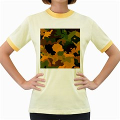 Background For Scrapbooking Or Other Camouflage Patterns Orange And Green Women s Fitted Ringer T-Shirts
