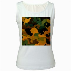 Background For Scrapbooking Or Other Camouflage Patterns Orange And Green Women s White Tank Top