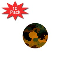 Background For Scrapbooking Or Other Camouflage Patterns Orange And Green 1  Mini Buttons (10 pack)