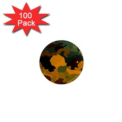 Background For Scrapbooking Or Other Camouflage Patterns Orange And Green 1  Mini Magnets (100 pack)