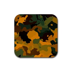 Background For Scrapbooking Or Other Camouflage Patterns Orange And Green Rubber Square Coaster (4 pack)