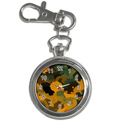 Background For Scrapbooking Or Other Camouflage Patterns Orange And Green Key Chain Watches