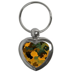 Background For Scrapbooking Or Other Camouflage Patterns Orange And Green Key Chains (Heart)