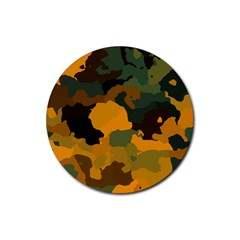 Background For Scrapbooking Or Other Camouflage Patterns Orange And Green Rubber Coaster (Round)
