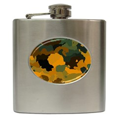 Background For Scrapbooking Or Other Camouflage Patterns Orange And Green Hip Flask (6 oz)
