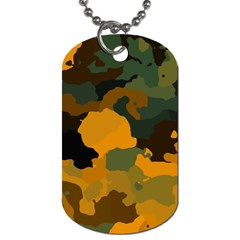 Background For Scrapbooking Or Other Camouflage Patterns Orange And Green Dog Tag (Two Sides)