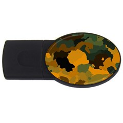 Background For Scrapbooking Or Other Camouflage Patterns Orange And Green USB Flash Drive Oval (1 GB)