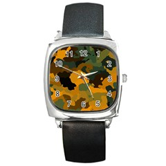 Background For Scrapbooking Or Other Camouflage Patterns Orange And Green Square Metal Watch