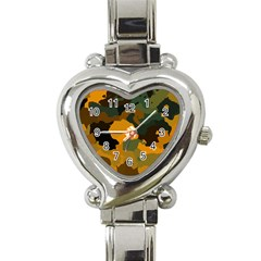 Background For Scrapbooking Or Other Camouflage Patterns Orange And Green Heart Italian Charm Watch