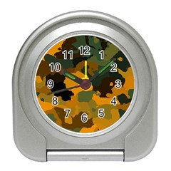Background For Scrapbooking Or Other Camouflage Patterns Orange And Green Travel Alarm Clocks