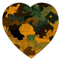 Background For Scrapbooking Or Other Camouflage Patterns Orange And Green Jigsaw Puzzle (heart)