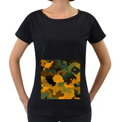 Background For Scrapbooking Or Other Camouflage Patterns Orange And Green Women s Loose-Fit T-Shirt (Black)