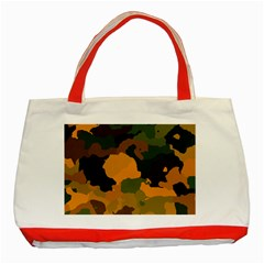 Background For Scrapbooking Or Other Camouflage Patterns Orange And Green Classic Tote Bag (Red)