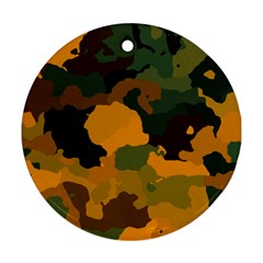 Background For Scrapbooking Or Other Camouflage Patterns Orange And Green Round Ornament (Two Sides)