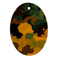 Background For Scrapbooking Or Other Camouflage Patterns Orange And Green Oval Ornament (Two Sides)